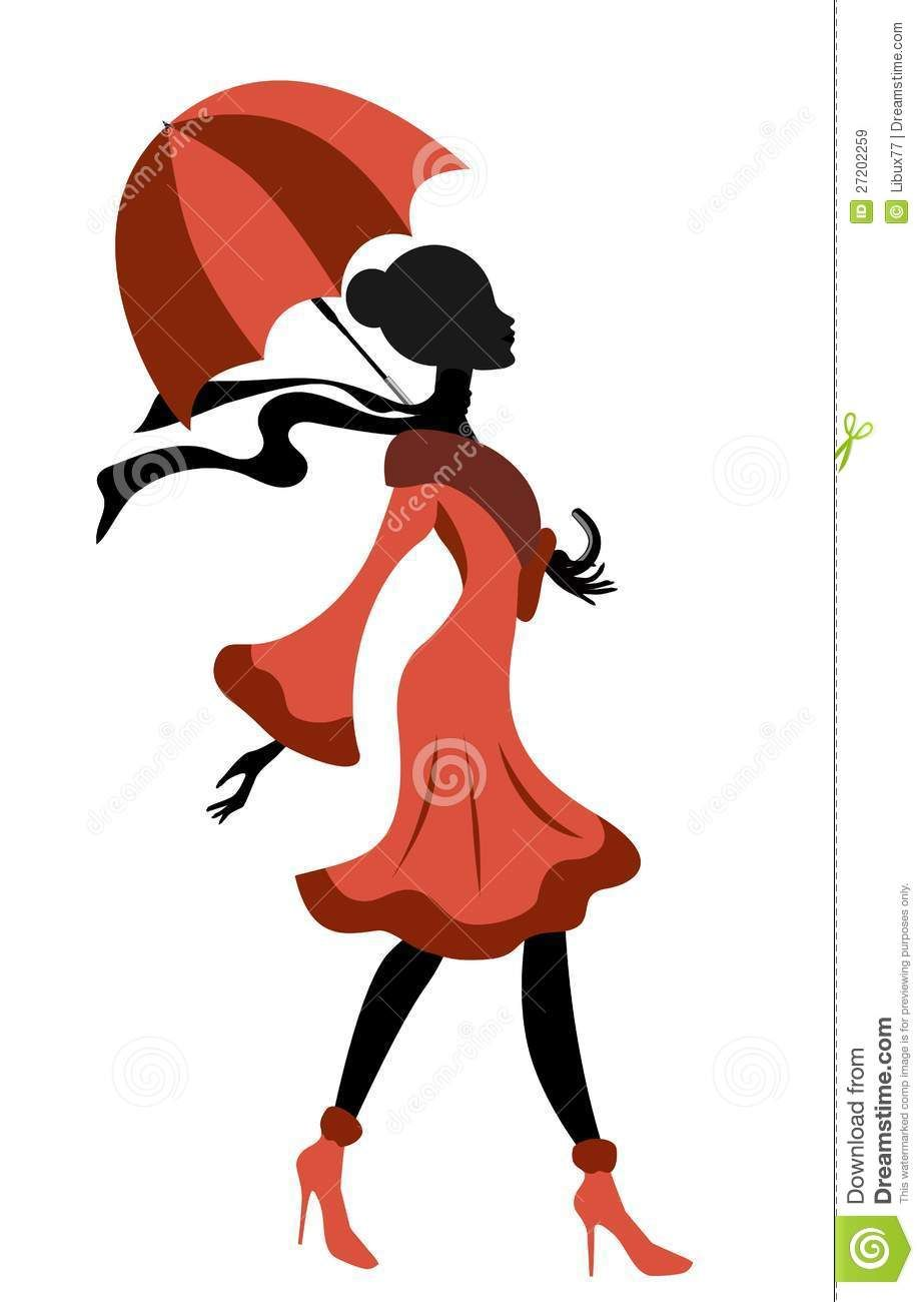 Elegant Lady Silhouette Walking With Umbrella Royalty Free.