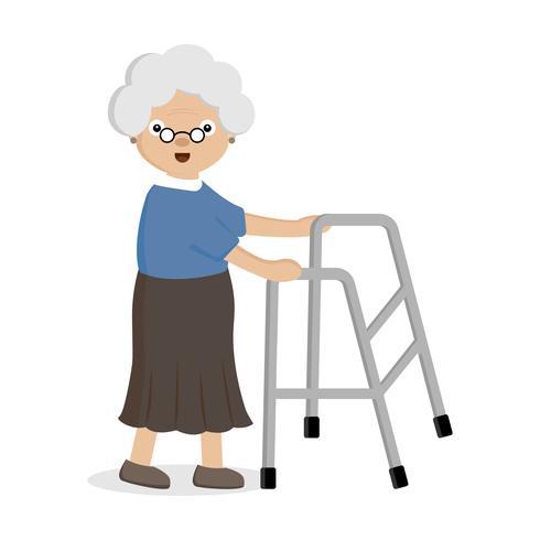 Old woman using helper walker..