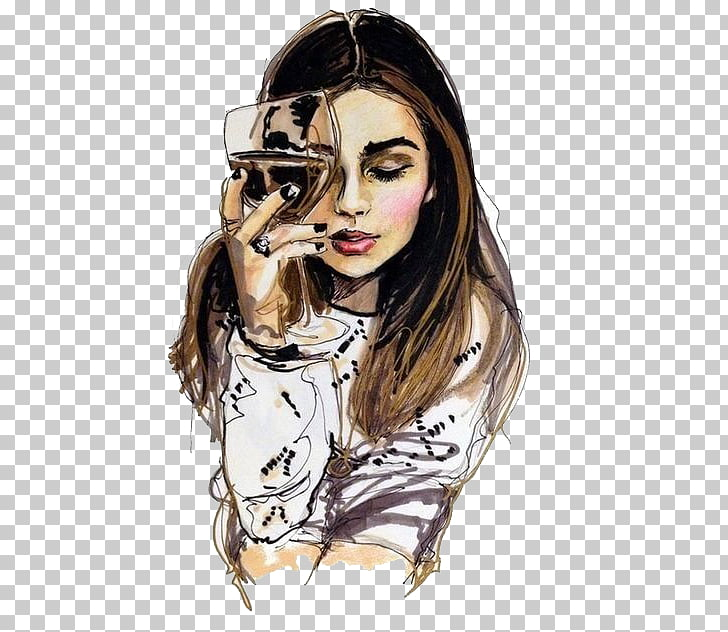 Wine Drawing Woman Sketch, drink, woman holding wine glass.