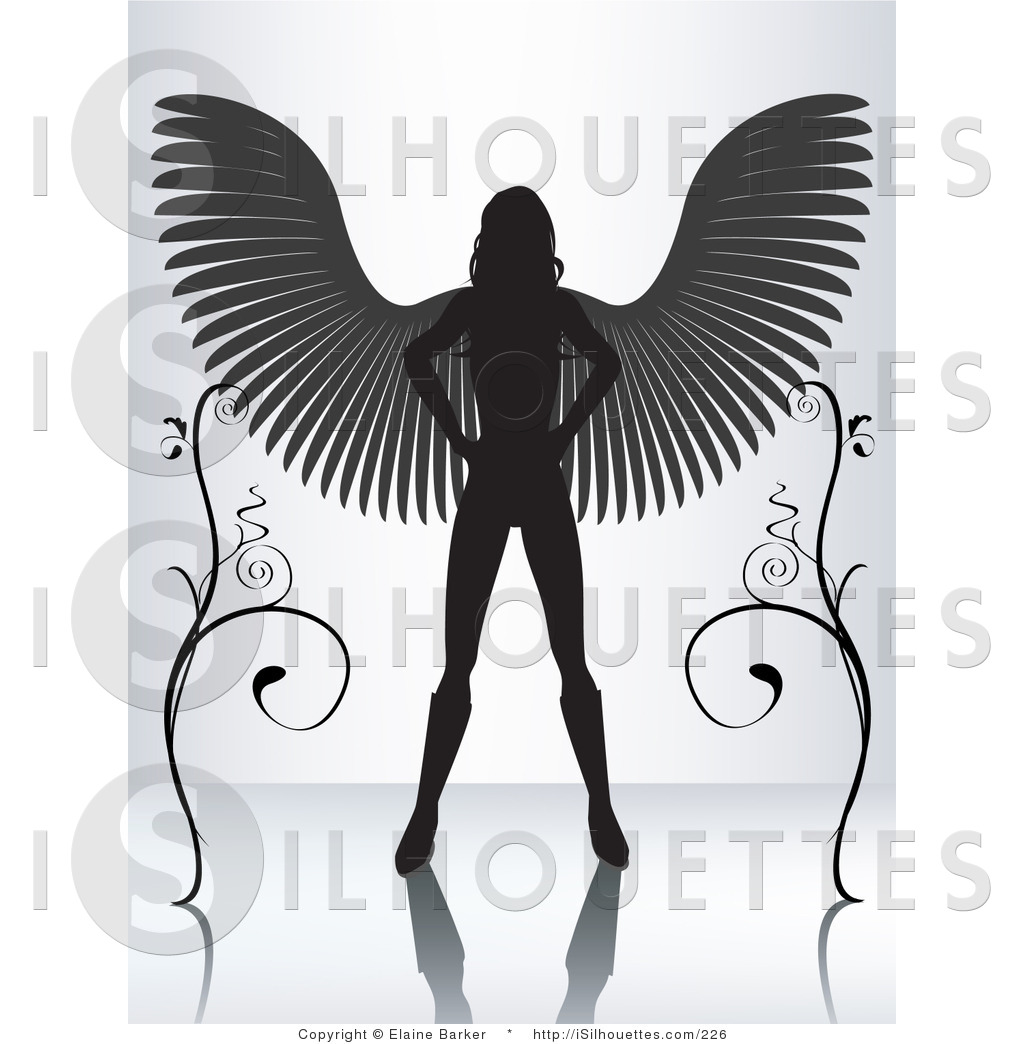 Silhouette Of A Girl With Wings.