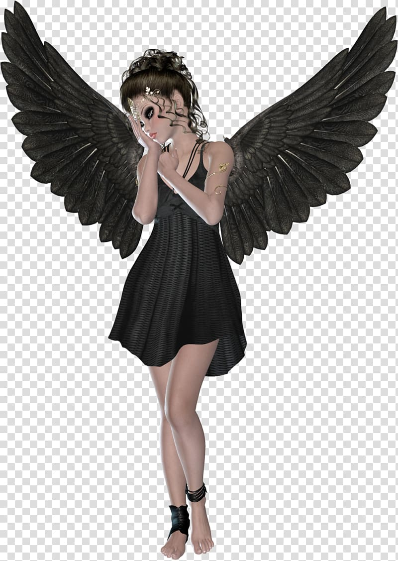 Woman with black wings illustration, Angel 3D computer.