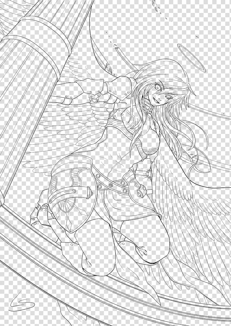 Gawain Lineart, woman with wings illustration transparent.