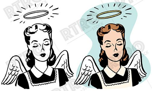 An angelic woman with wings and a halo retro vintage clipart.
