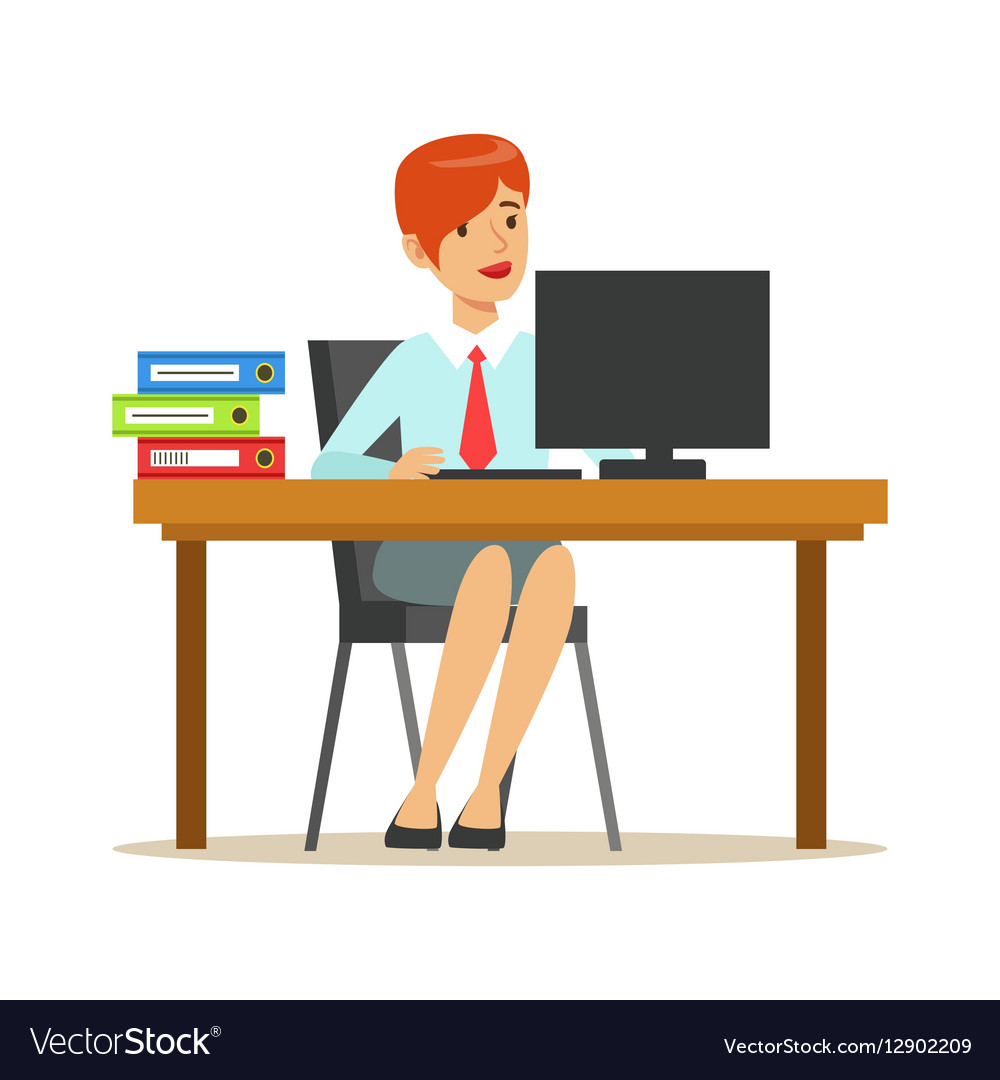 Woman Working At Her Desk With Computer And.