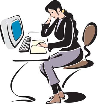 Girl working with her desktop PC Clipart Picture.