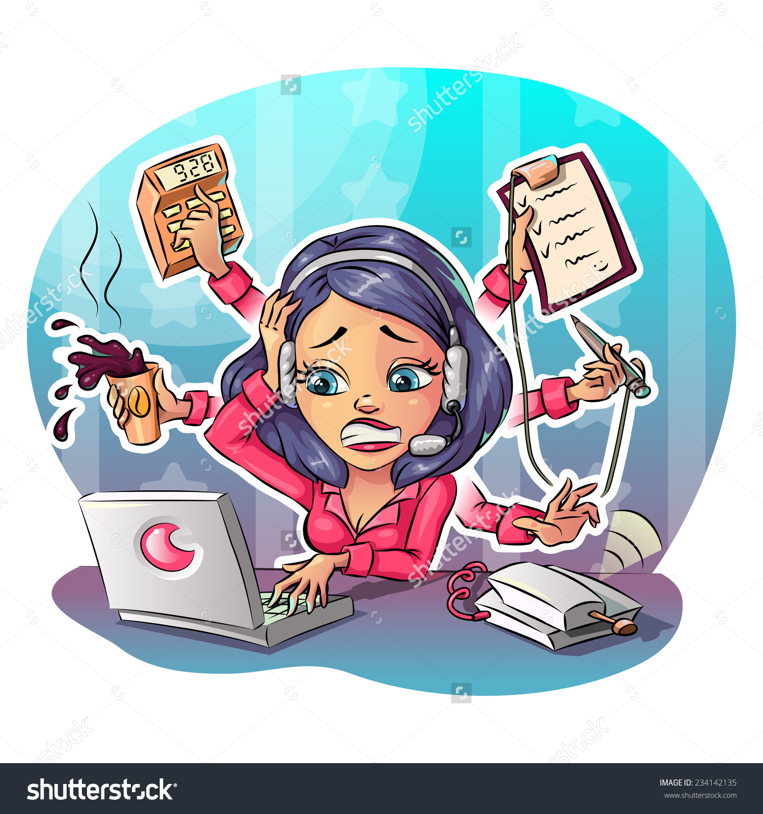 Hard Working Woman Clipart.