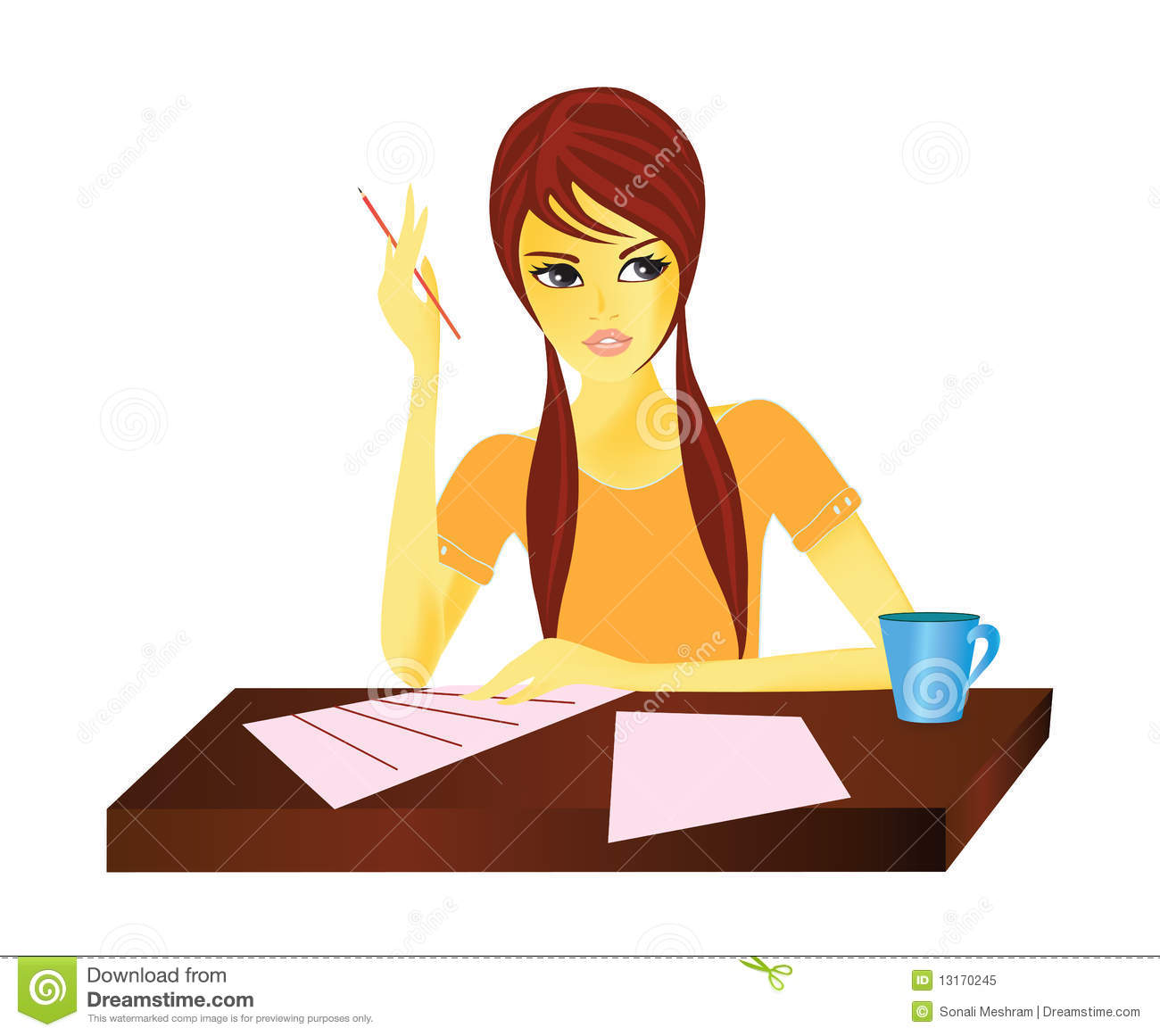 Girl Writing A Letter Clipart