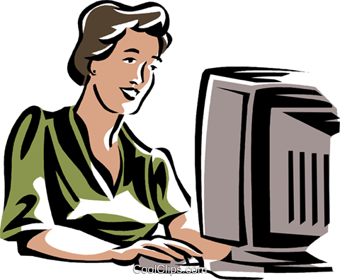 woman working at a computer Royalty Free Vector Clip Art.
