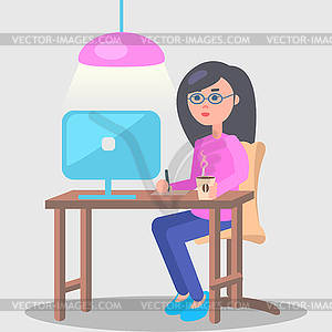 Woman Works in Office at Computer.