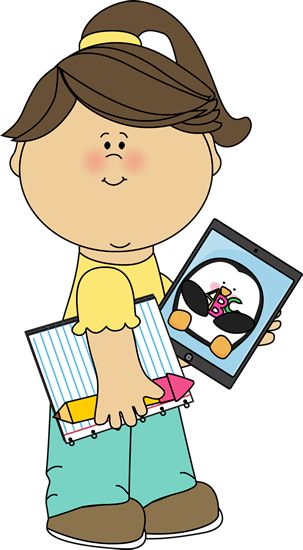 Clip Art Student With Ipad Clipart.