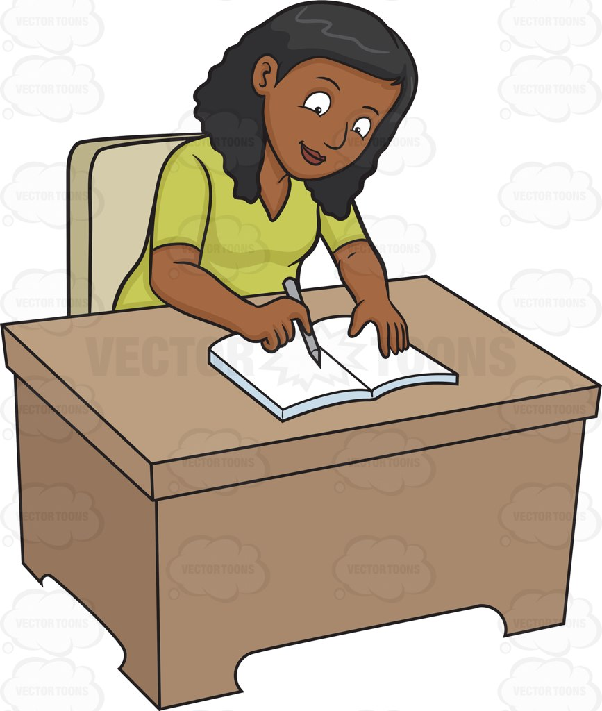 Woman Writing Clipart.