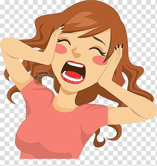 Woman screaming , Screaming , Cartoon comic screaming woman.