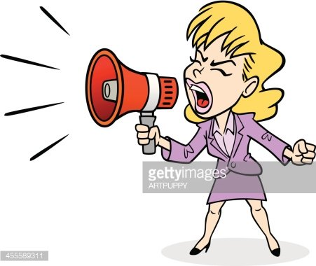 Business Woman Yelling premium clipart.