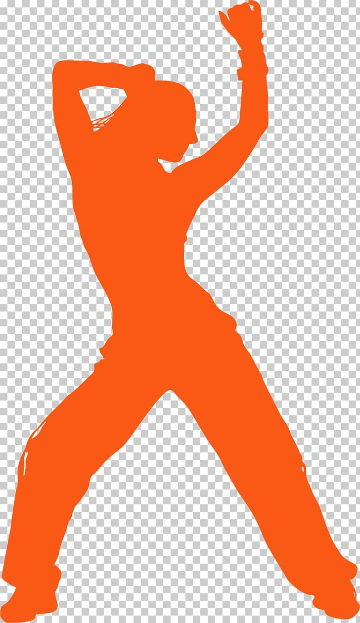 Zumba Dance Silhouette , zumba, orange woman dancing.