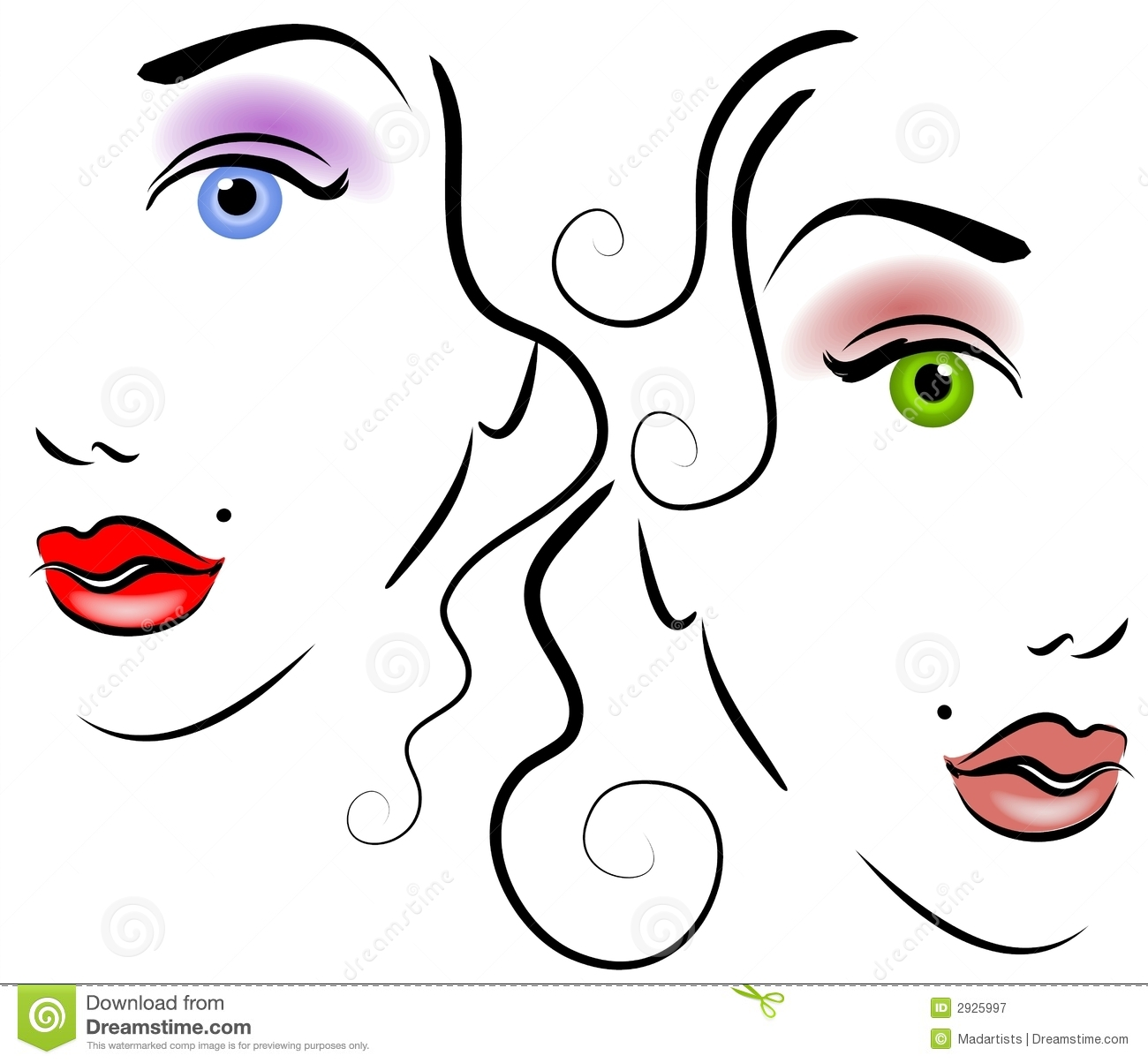 Women Hair Clipart.