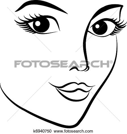 Clipart of Beautiful fashion woman's face k6940425.