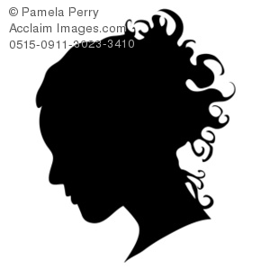 Clip Art Illustration of the Silhouette of a Woman's Head.
