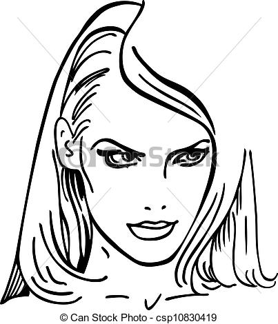 Vector Clip Art of Woman's face (vector illustration) isolated on.