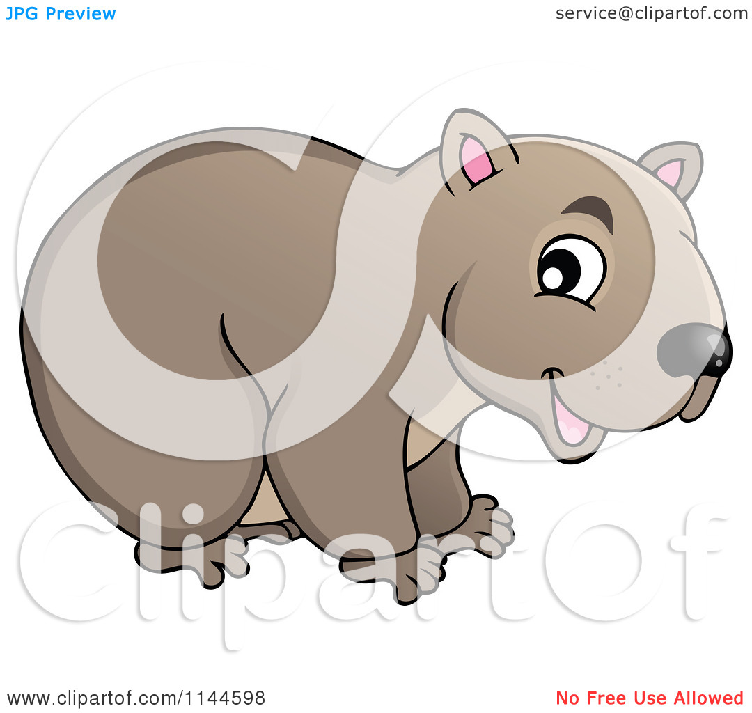 Cartoon of a Cute Aussie Wombat.