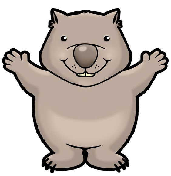 cute wombat clipart for classroom mascot.