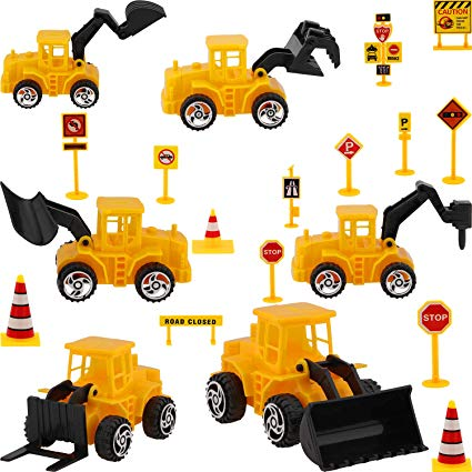 Construction Vehicle Cake Decoration Set, Include 6 Pieces Construction  Vehicle Cupcake Toppers and 14 Pieces Road Sign Cupcake Toppers for  Birthday.