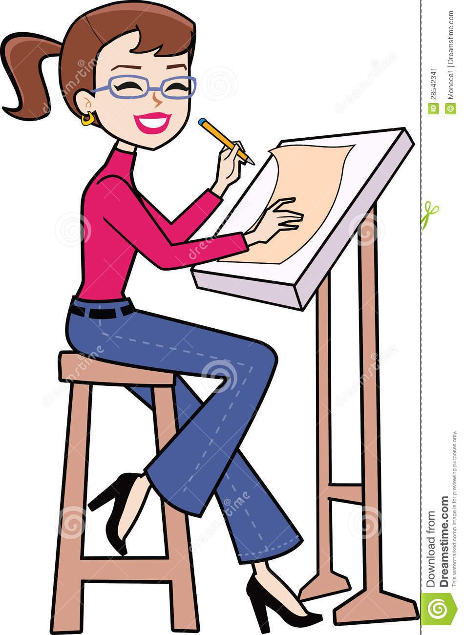Draw clipart woman artist, Draw woman artist Transparent.