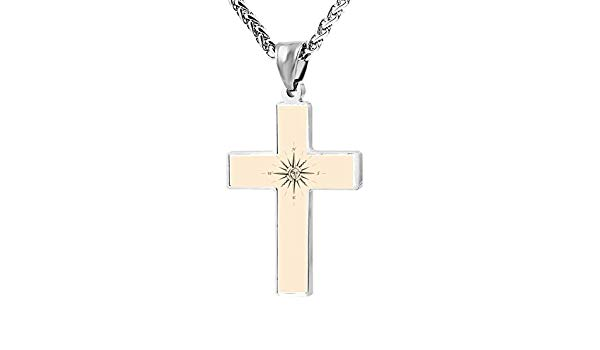 Simple Small Zinc Alloy Religious Cross Necklace For Men.