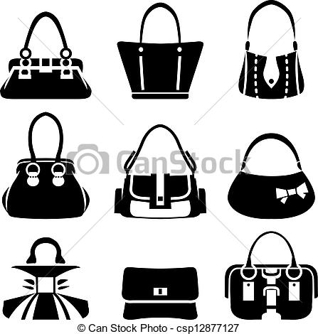 Vector of Set of woman bags and handbags. Black and white colors.