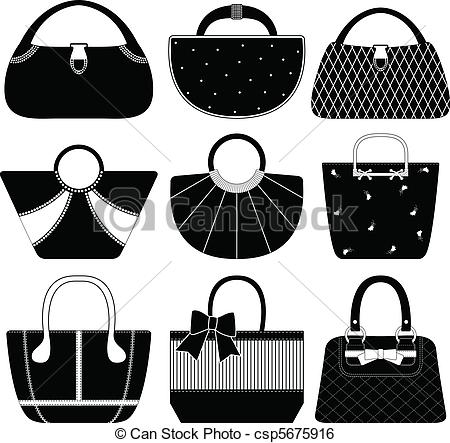 Clip Art Vector of Female Bag Handbag Purse Woman.
