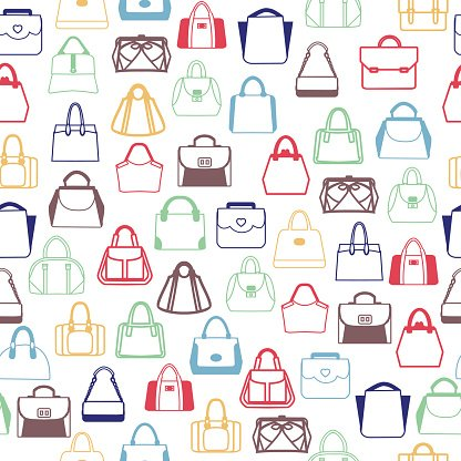 pattern of Fashion Bags, Women and men bags Clipart Image.