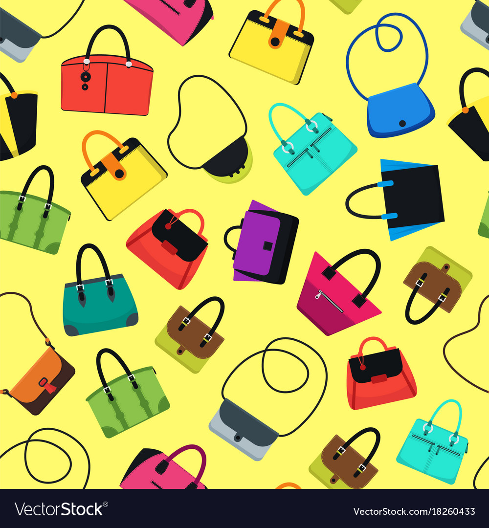 Cartoon handbag or female bags background pattern.