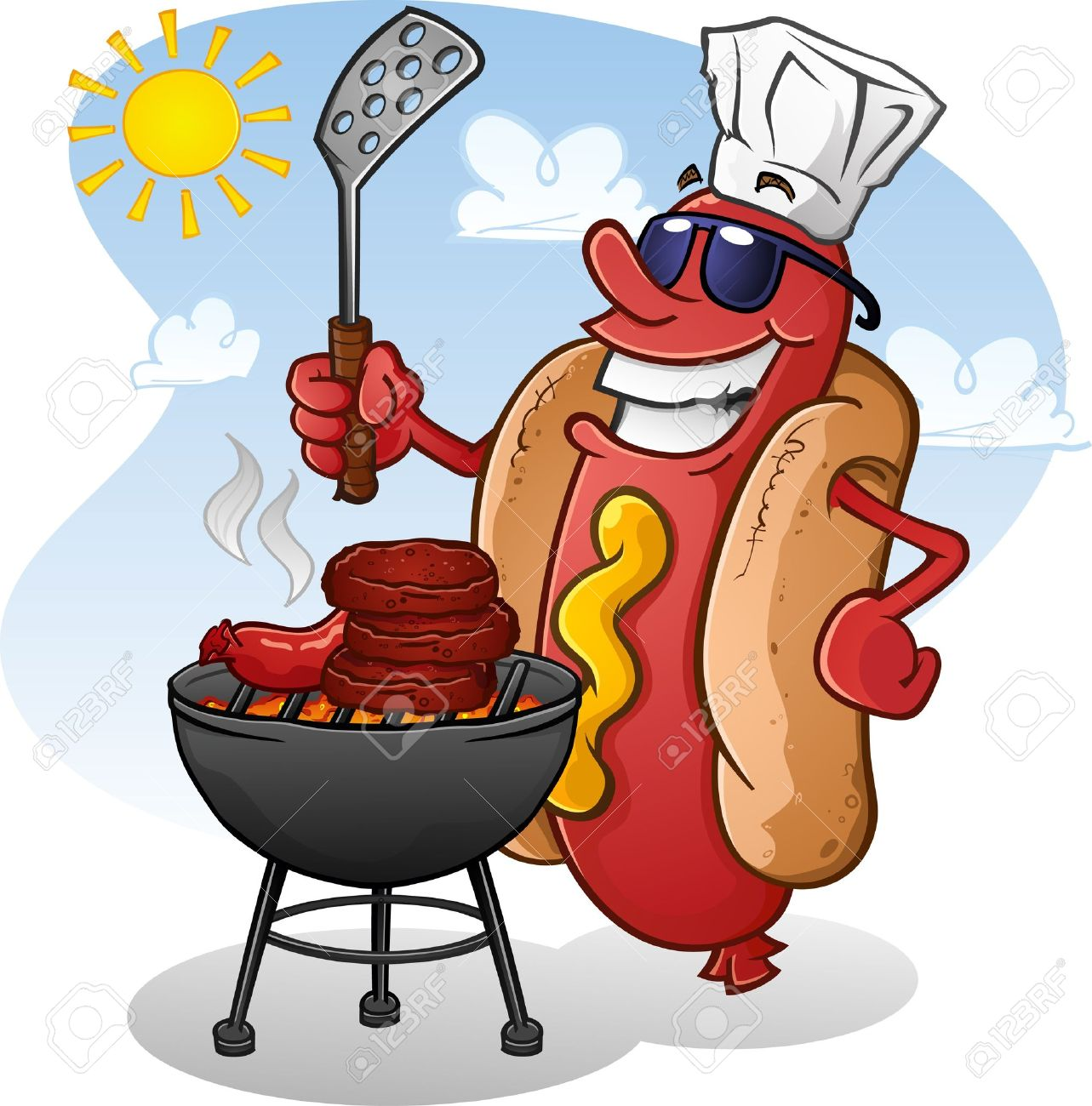 Grilling Hot Dogs Clipart.