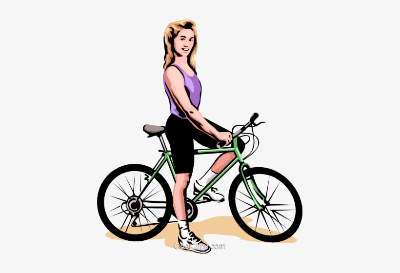 Woman On Bicycle Royalty Free Vector Clip Art Illustration.