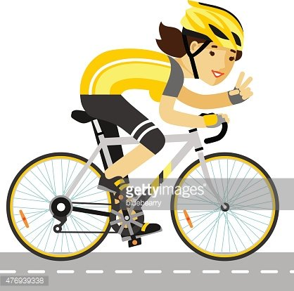 Young racing cyclist woman with bike in flat style Clipart.