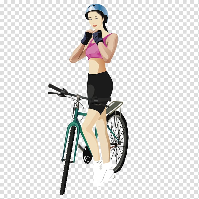 Bicycle Cycling Sport, Racing girl transparent background.