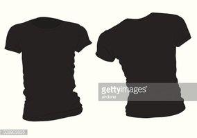 Women\'s Black T Shirt Template stock vectors.
