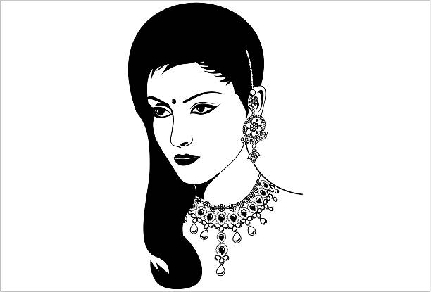 Indian woman clipart black and white 3 » Clipart Station.