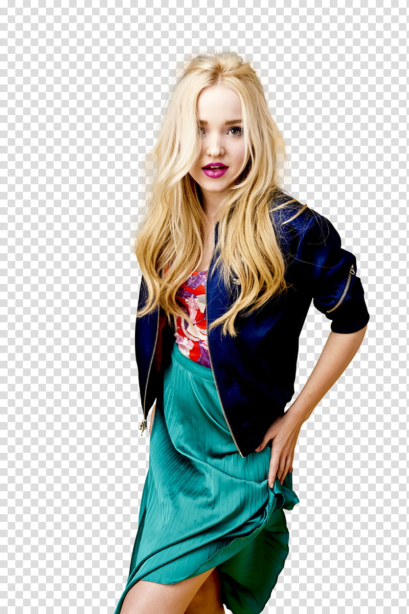 DOVE CAMERON, women\'s blue jacket and green skirt.