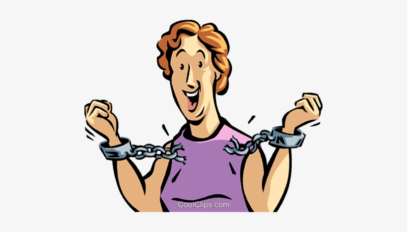 Woman Breaking Free From Handcuffs Royalty Free Vector.