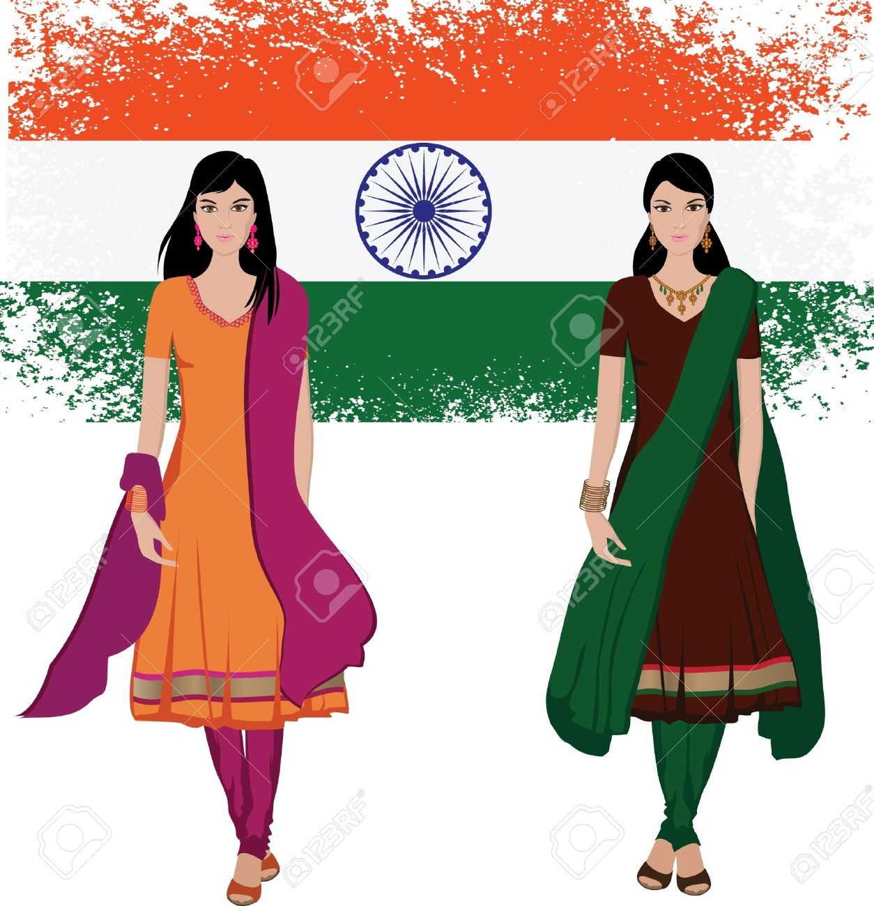 Traditional Indian Clothing Clipart.