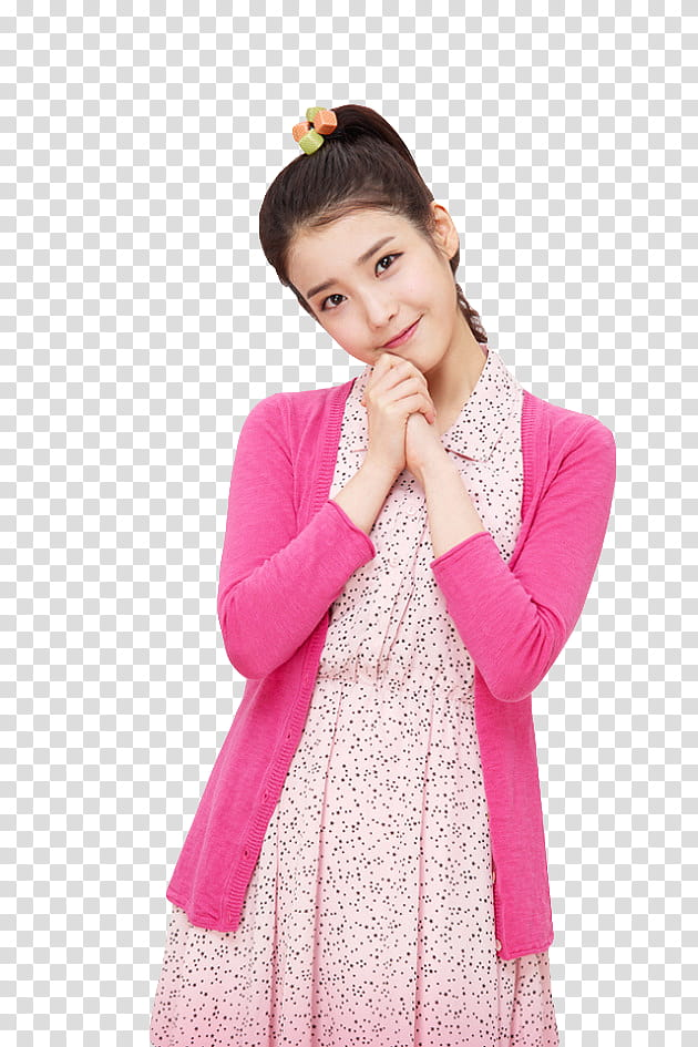 IU, cutout of woman in collared dress and pink cardigan.