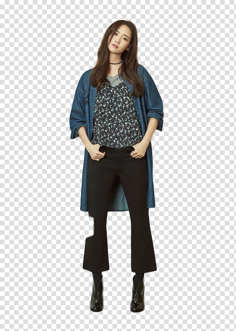Woman in black pants and blue cardigan transparent.
