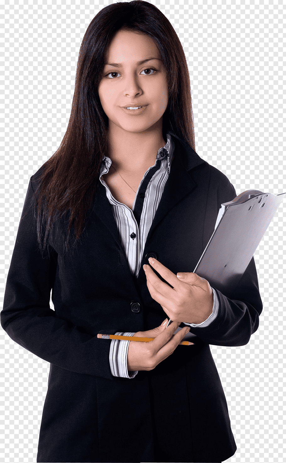 Business Woman Girl, woman standing wearing black cardigan.