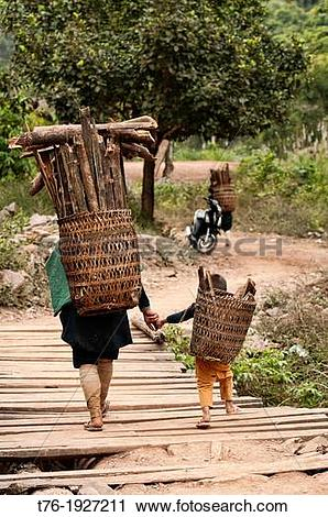 Stock Photography of Ethnic Lanten woman and her son carrying wood.