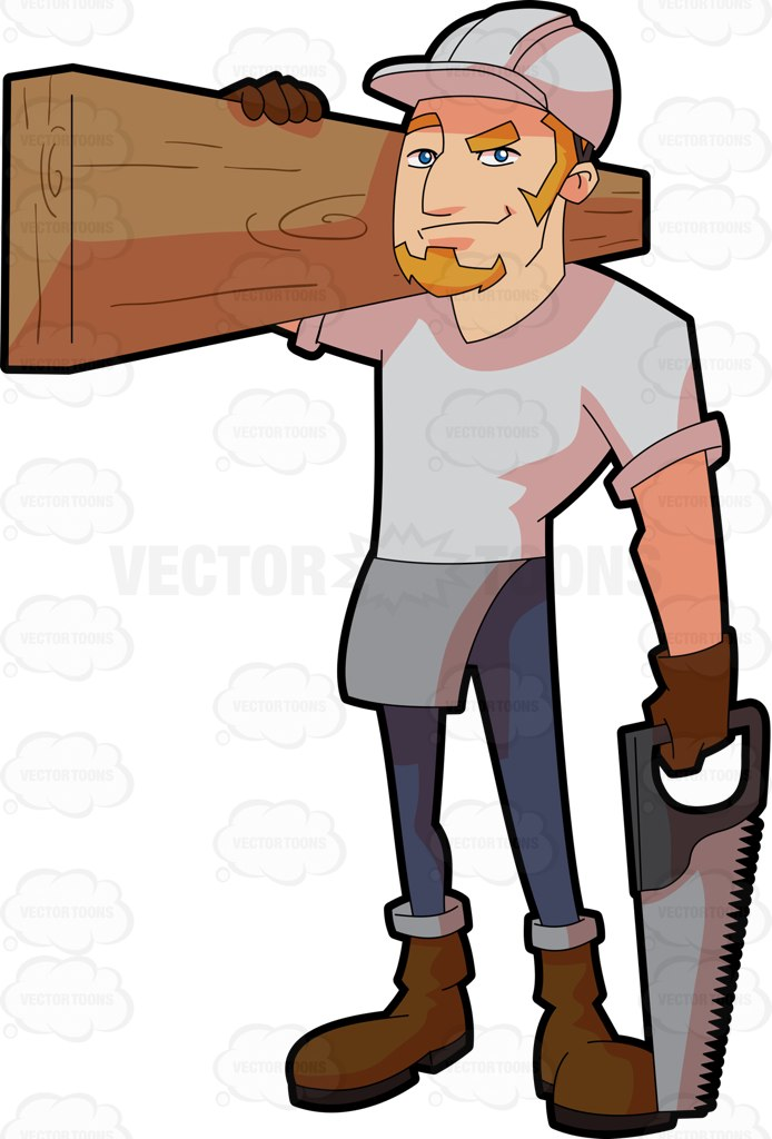 A Male Construction Worker Carrying A Slab Of Wood.