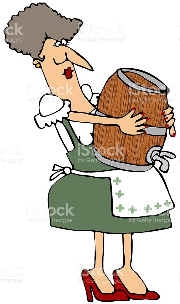 Woman Carrying A Wooden Keg stock vector art 147014354.