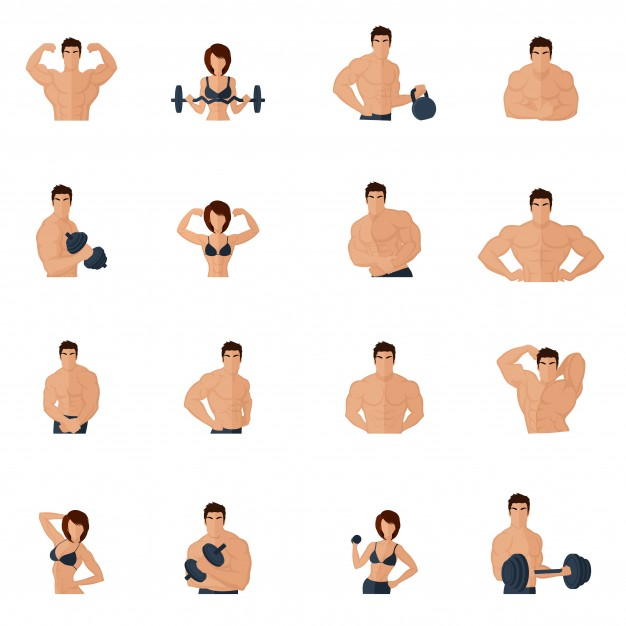 Bodybuilding fitness gym icons flat set with strong men and.