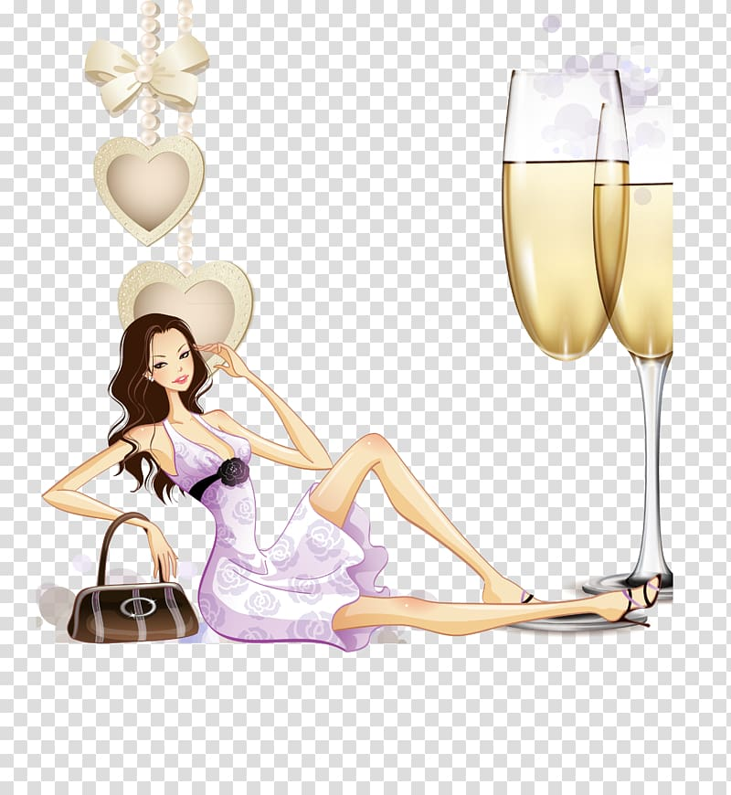 Fashion Illustration, fashion woman transparent background.