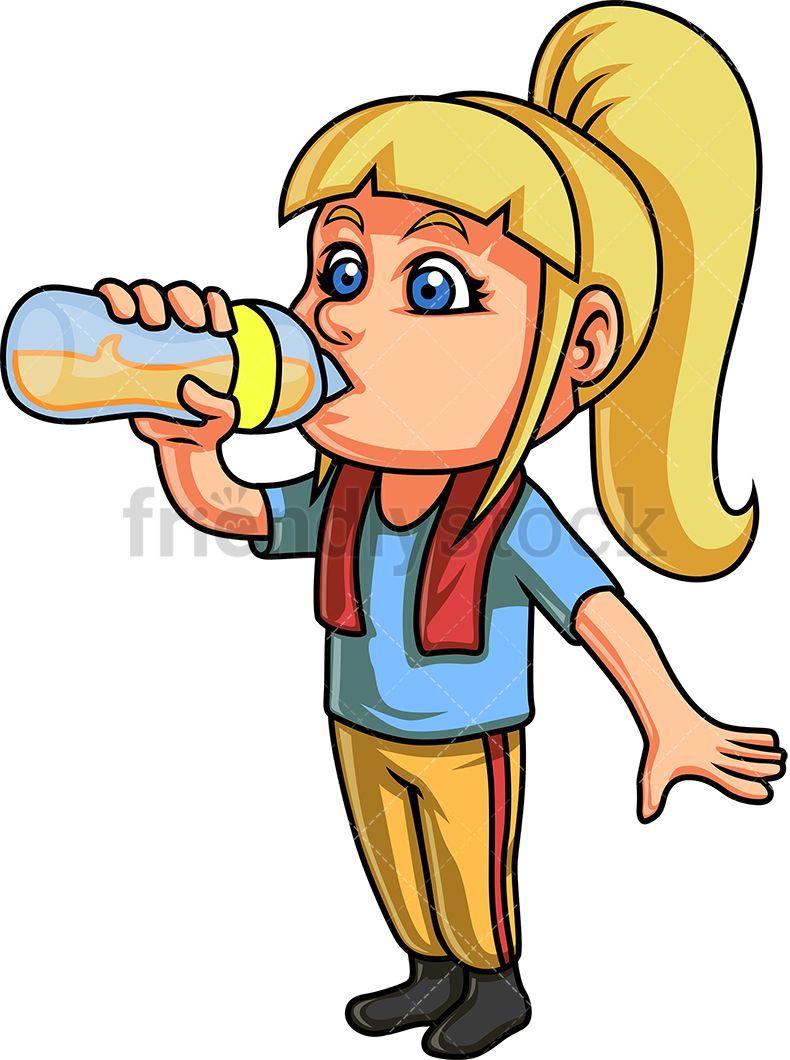 Girl Drinking From Glass Bottle.