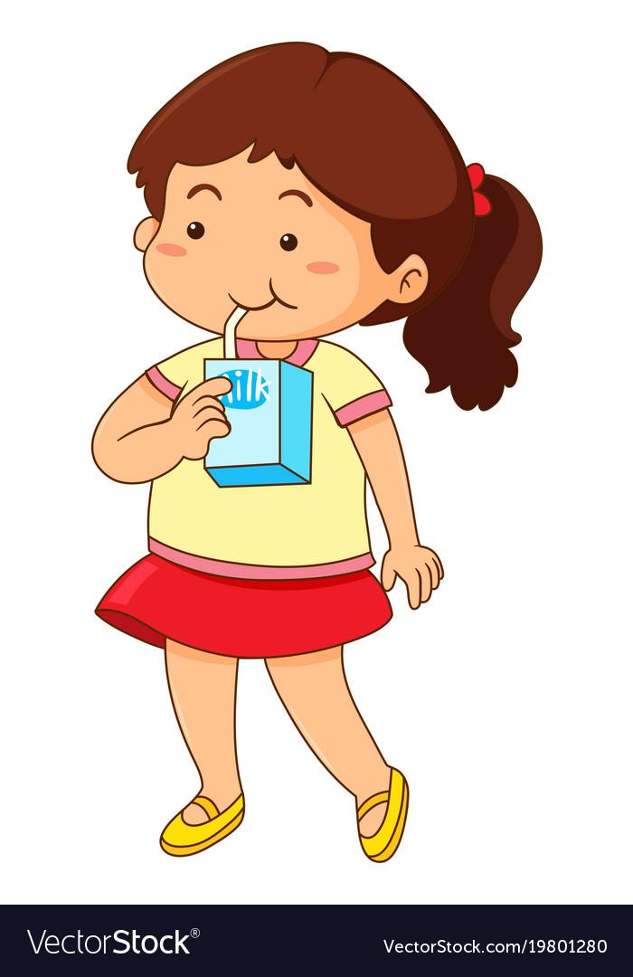 Little girl drinking milk.